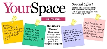 Image of bulletin board of reader messages